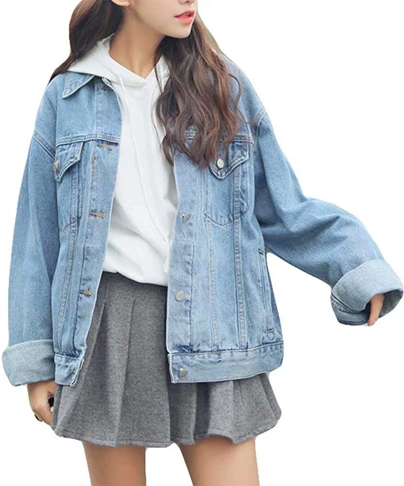 Ankecity Women S Boyfriend Denim Jackets Long Sleeve Loose Jean Coats Oversize At Amazon Women S Coats Shop Denim Jacket Women Flannel Lined Jeans Loose Jeans [ 1000 x 833 Pixel ]
