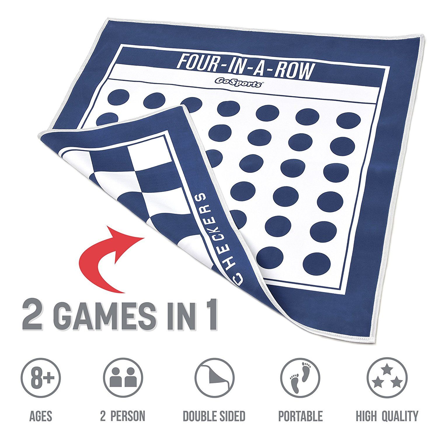 GoSports Giant 4 In A Row & Checkers Board