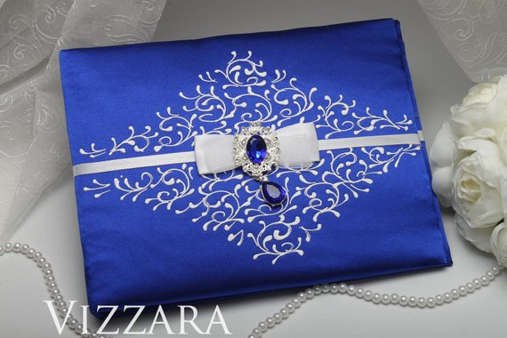 Black and White Damask with Royal Blue Wedding Guest Book and Pen Set