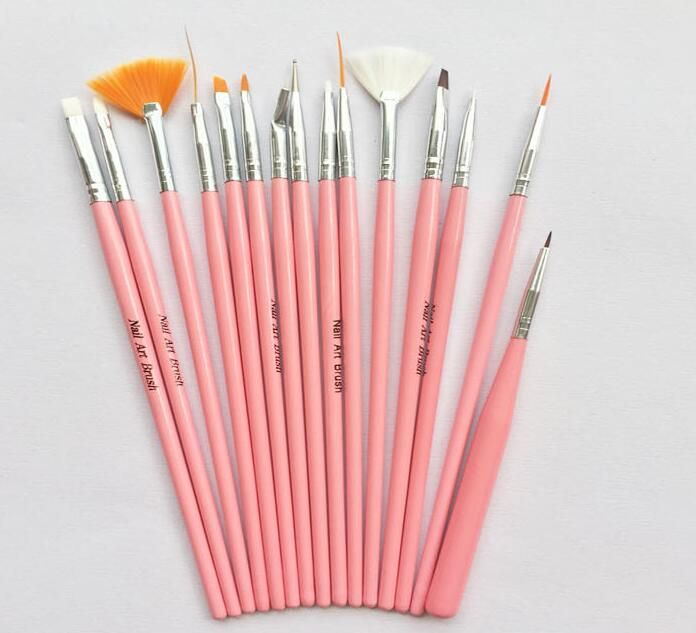 Nail art brushes set 15pcs white decorations gel painting pen nail nail art brushes set 15pcs white decorations gel painting pen nail brush professional nail equipment drawing prinsesfo Gallery