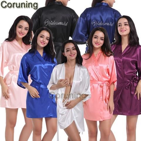 9f47980dfd RB030 Sexy Large Size Sexy Satin Robe Bathrobe Perfect Wedding Bride  Bridesmaid Rhinestone Letter Robes Dressing Gown For Women