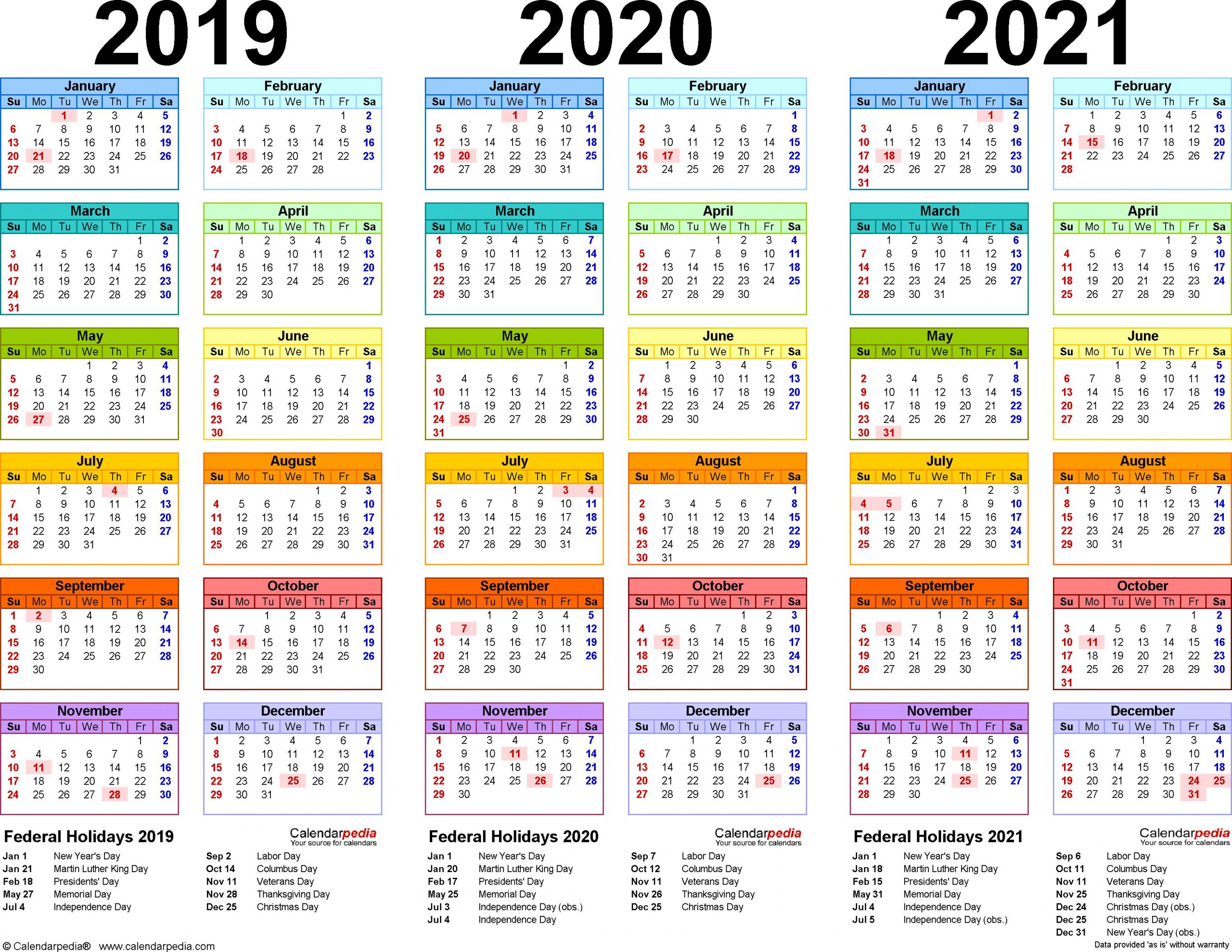 2019 - 2021 Calendar 2019 2020 2021 3 year calendar 2019 2021 three year calendar free