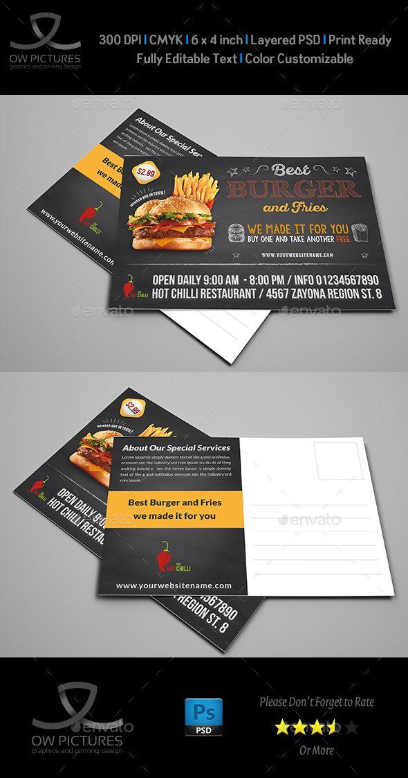Burger Restaurant Postcard Template Postcard Template Postcard Children Charity