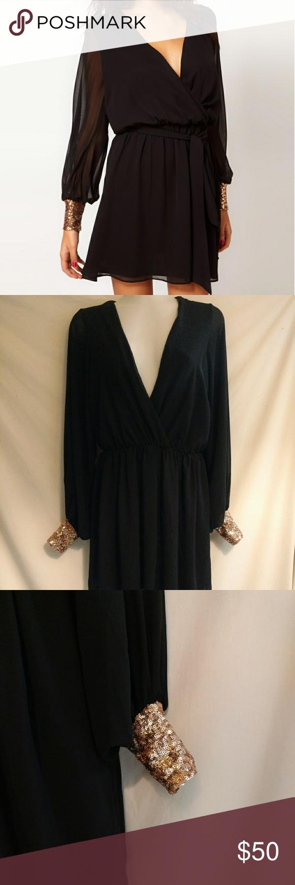 Asos black w rose gold sequin mini dress asos mini dress