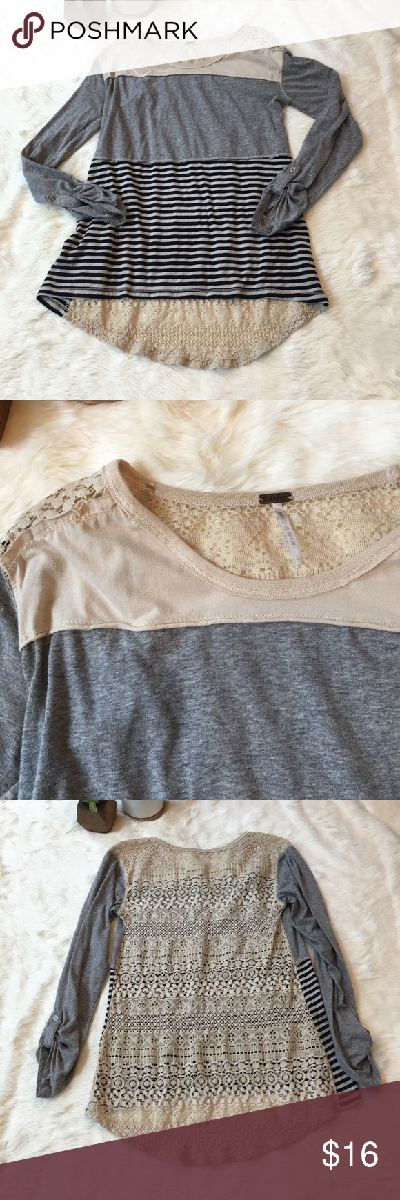 Nordstrom lace back long sleeve t-shirt Super soft shirt from Nordstrom. Block fabric front with cream lace back. Has a little stretch. Excellent condition! Poof! Tops Tees - Long Sleeve