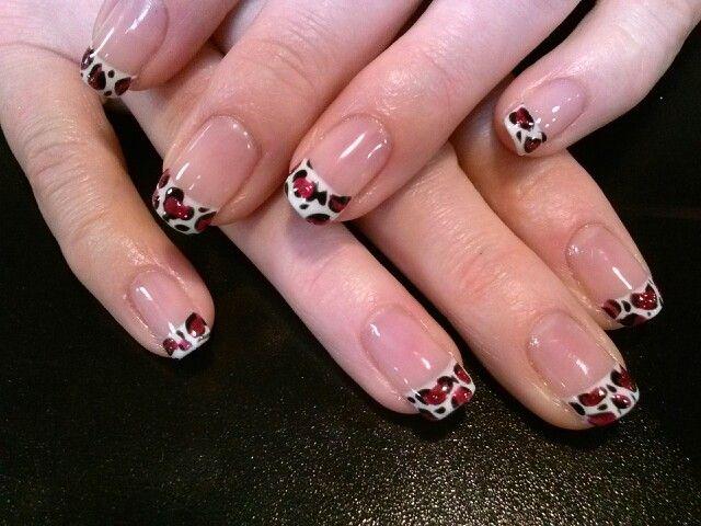 Valentine cheetah french nail art