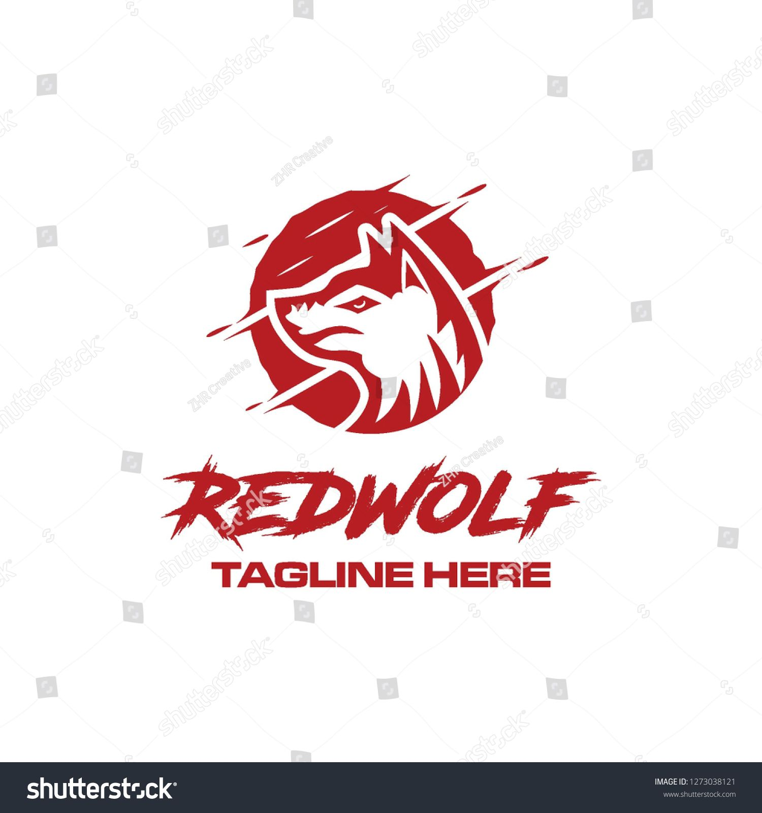 red wolf face hunter power animal beast mascot in circle