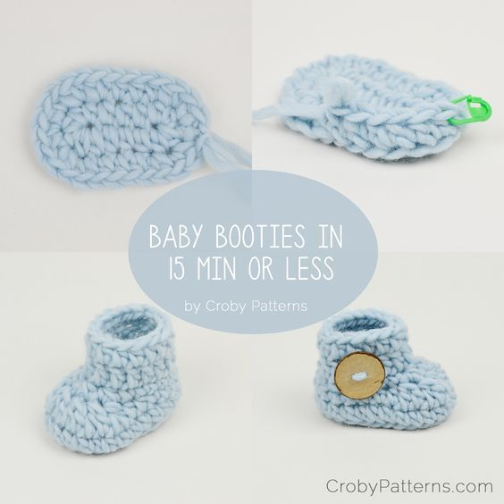 Crochet baby booties in 15 minutes or less! by Croby Patterns ...