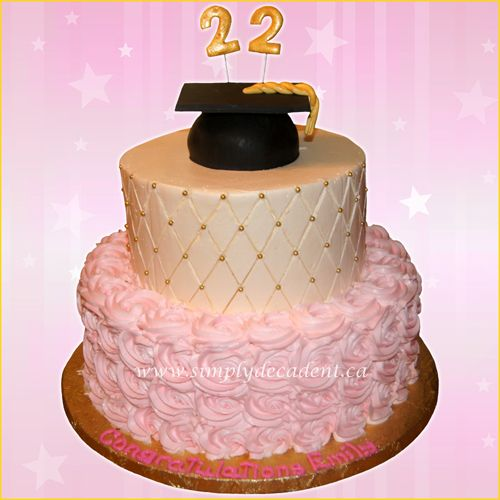 2 Tier Birthday Graduation Cake With Pink Buttercream