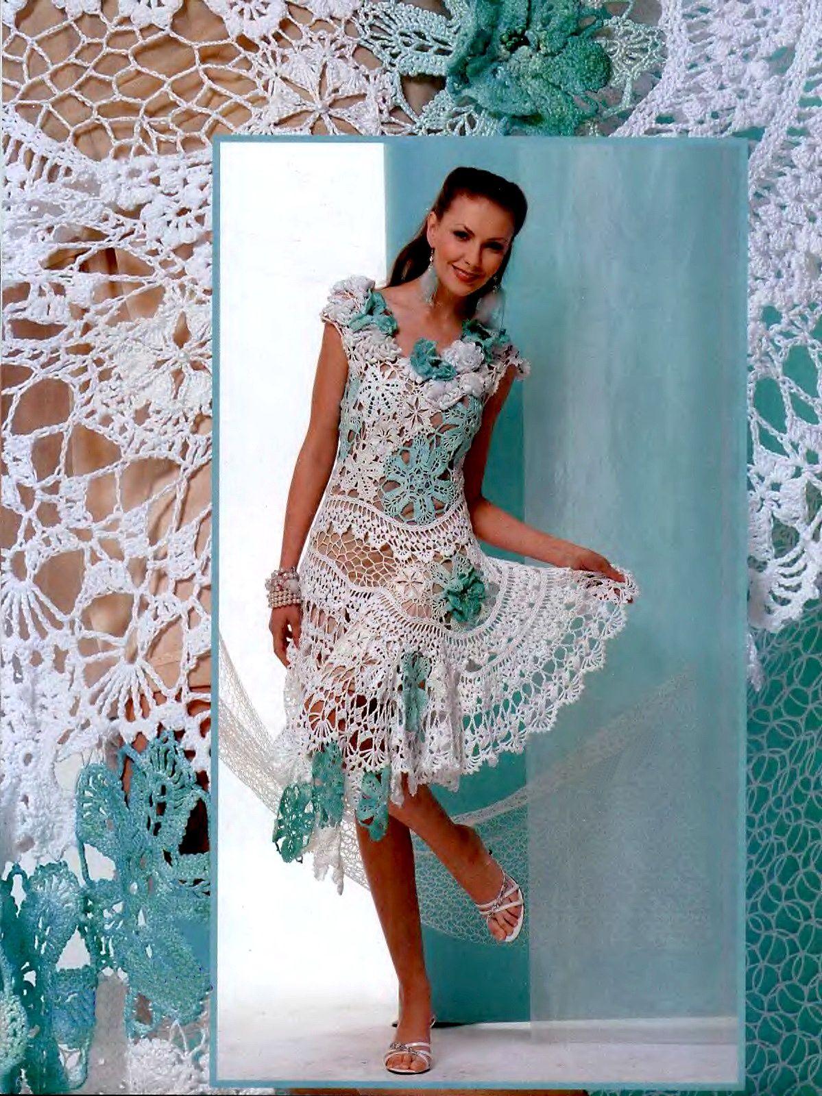 Irish crochet &: CROCHET DRESS.......ПЛАТЬЕ КРЮЧКОМ | Tejido 3 ...