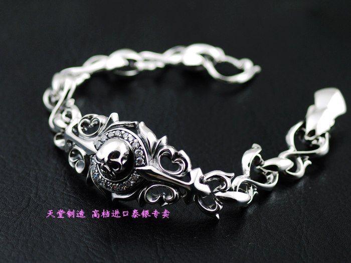Thailand Imports 925 Silver Japanese Zircon Skull Silver Bracelet