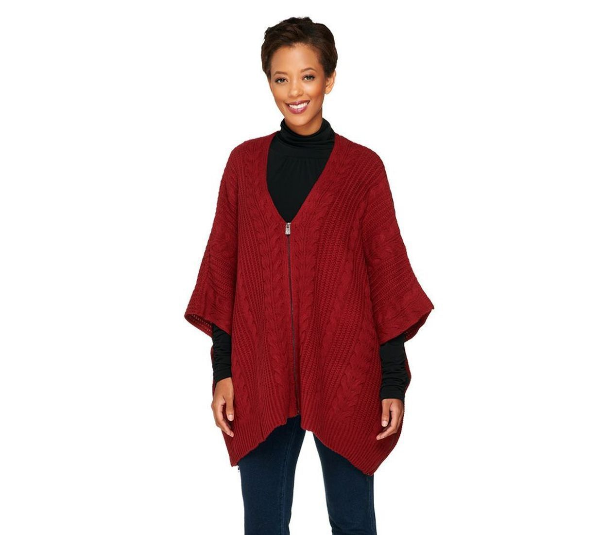 72.25$  Watch now - http://vihrp.justgood.pw/vig/item.php?t=ftucs583294 - Lisa Rinna Collection Zipper Front Sweater Poncho Burgundy XL/1X NEW A257747 72.25$