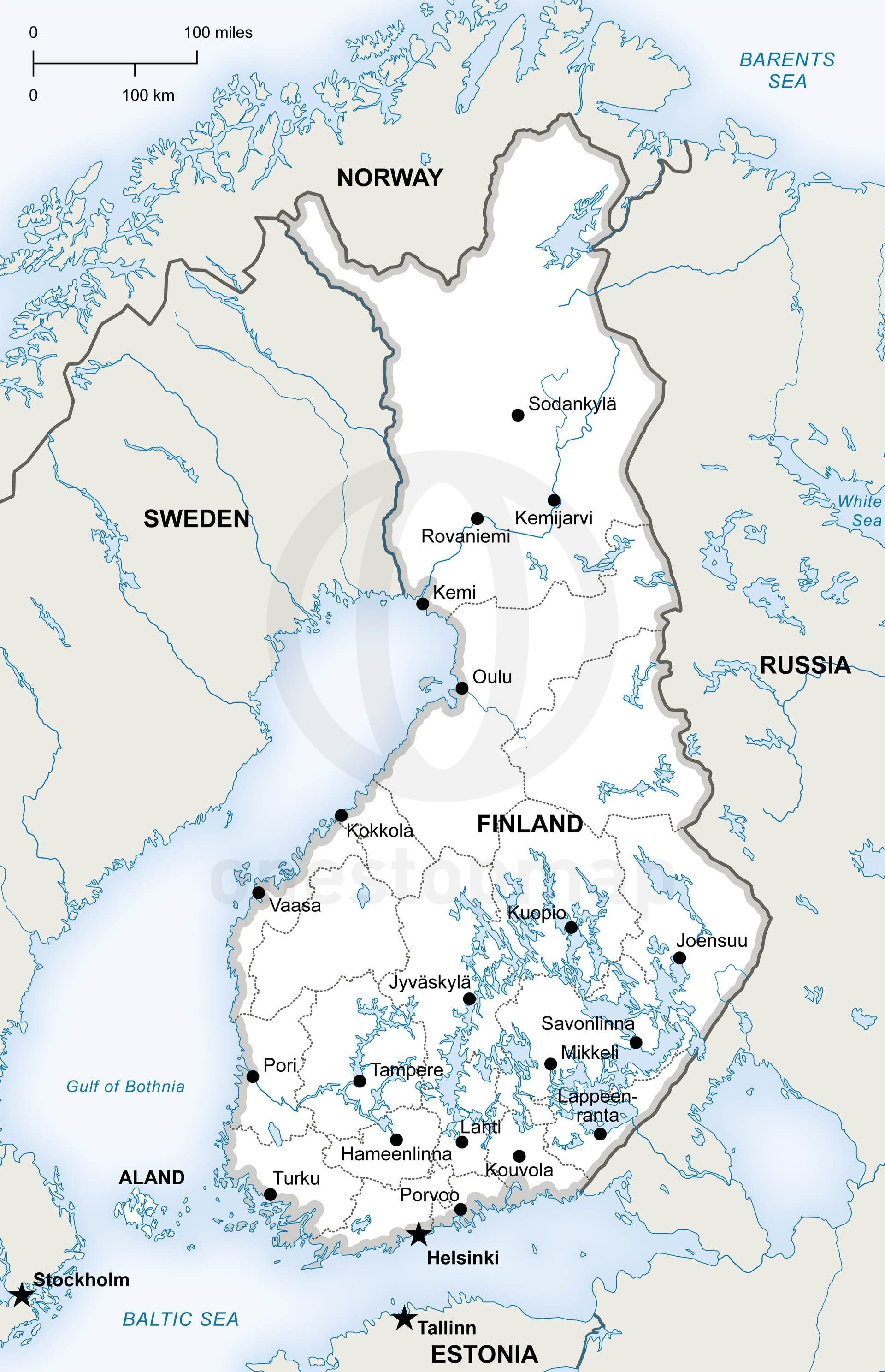 printable and editable vector map of finland political showing political boundaries on country and state