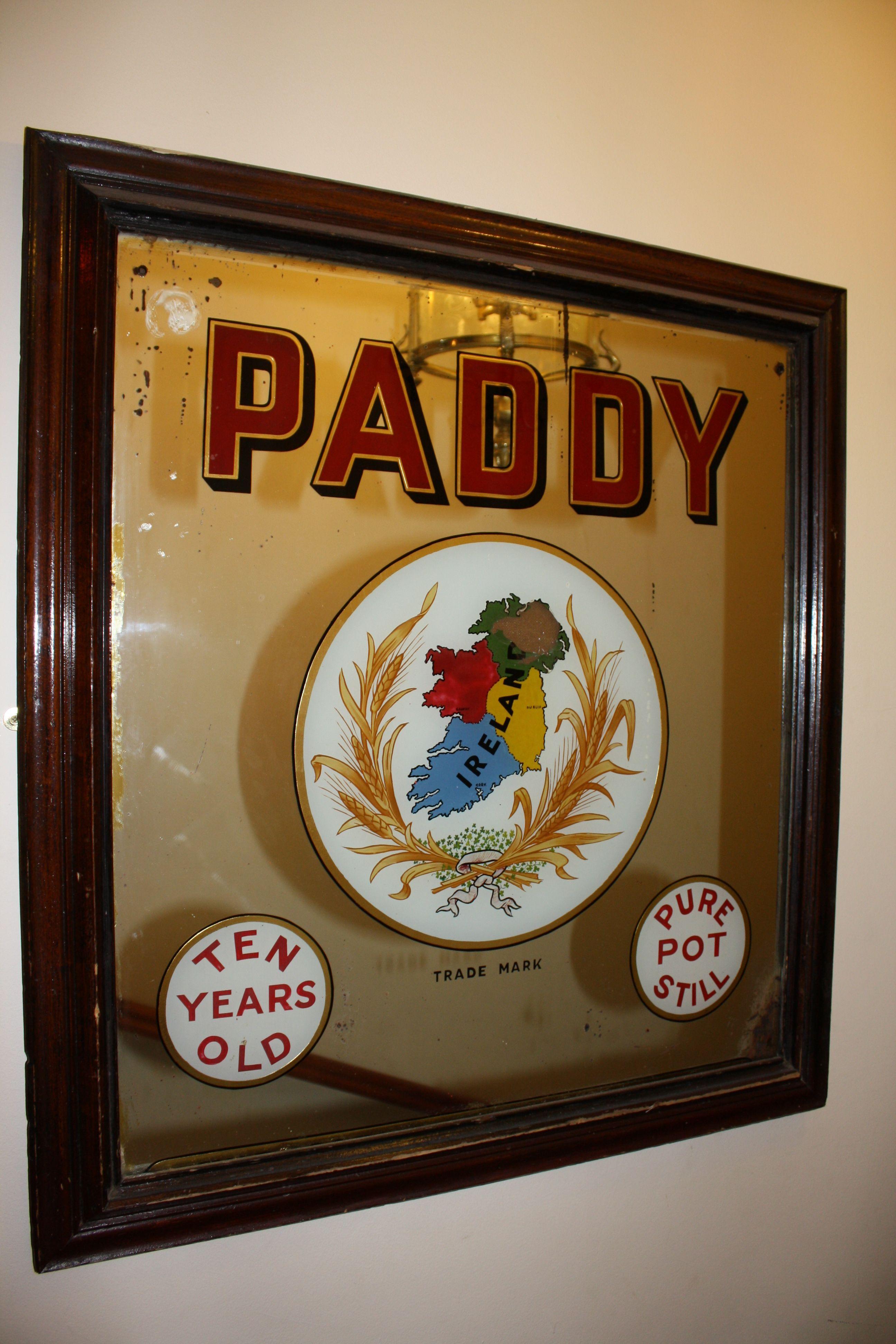 Paddy' Irish Whiskey Mirror - Pub And Bar Decor