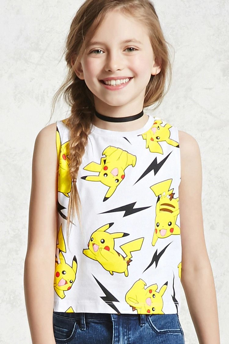 f97eb136 Forever 21 Girls - A knit tank top featuring an allover Pikachu print, a  crew neck and a sleeveless cut.<p>- Officially licensed product</p>