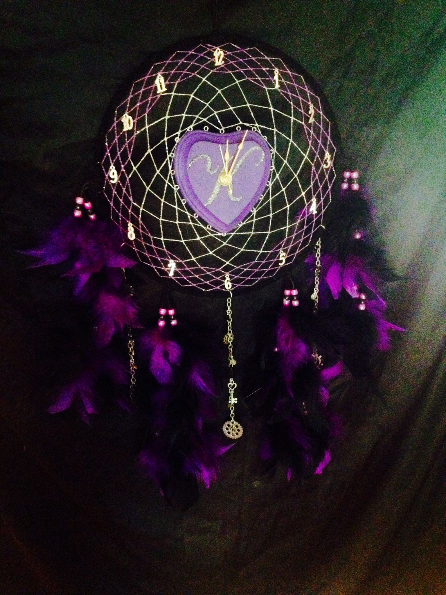 Color art dreamcatcher - 10 Personalized Dream Catcher Clock Available In Any Color And Any Initial Also