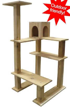 cedar outdoor crystal tower cat tree outdoor cat condo petbeds houses and accessories. Black Bedroom Furniture Sets. Home Design Ideas