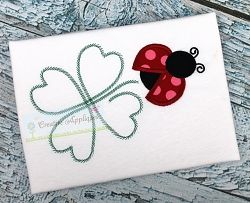 Ladybug with Clover Applique - 4 Sizes!   St. Patrick's Day   Machine Embroidery Designs   SWAKembroidery.com Creative Appliques