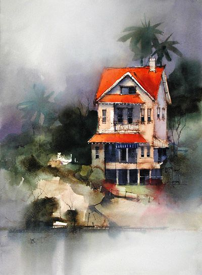 Watercolor Demo House In The Mist Watercolor Architecture