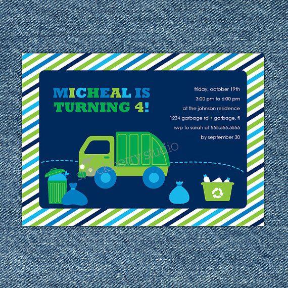 Garbage truck birthday invitation garbage truck party invite dump truck party filmwisefo