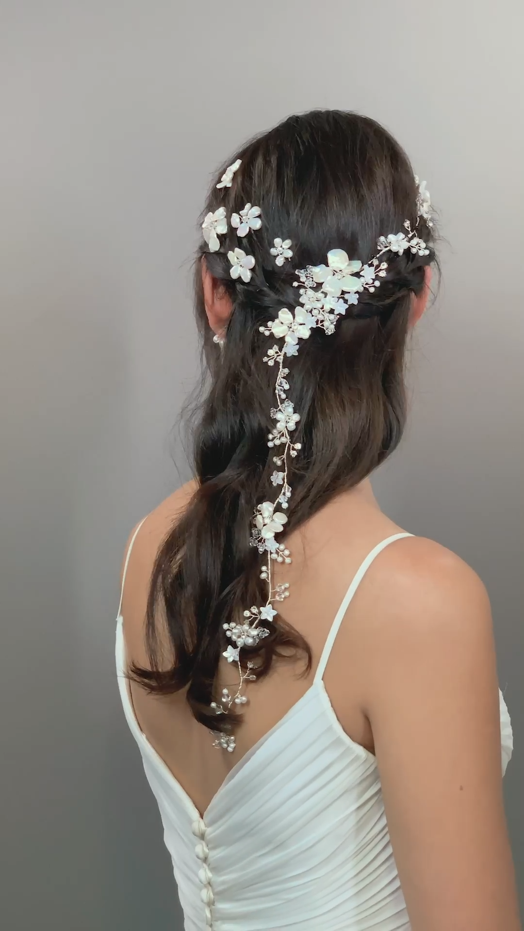 FLEURETTE GARLAND & BLOSSOM HAIRPINS HERMIONE HARBUTT-Whimsical Fairytale Bohemian Bride Hairstyle