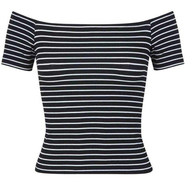 2b59fb84726 Black Stripe Bardot Top ($6.09) ❤ liked on Polyvore featuring tops, shirts,  blusas, short sleeves, jersey shirt, rayon tops, striped top, short-sleeve  ...