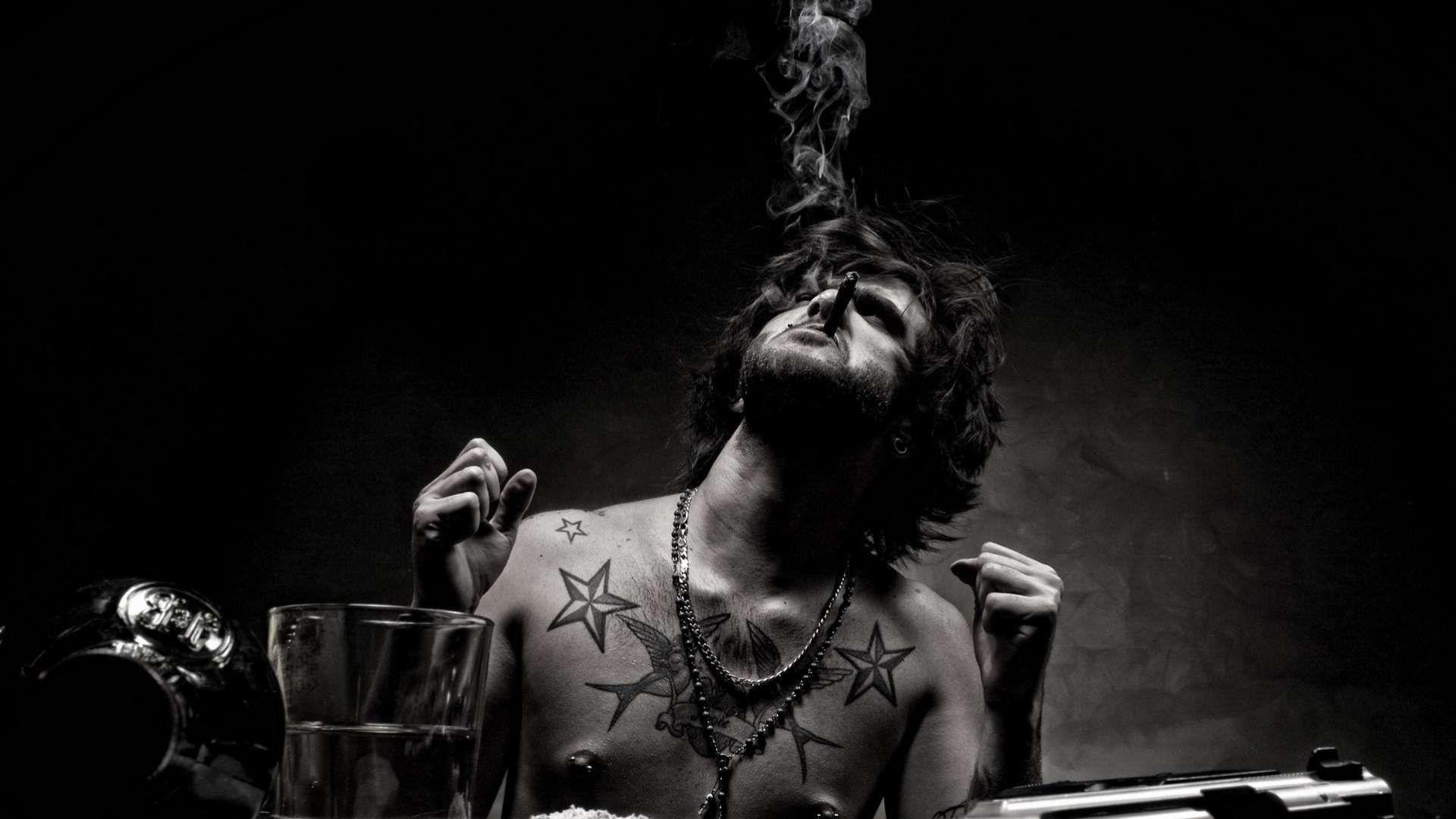 Hd wallpaper black and white - Hd Wallpaper Man Cigar Weapons Black White 1080p