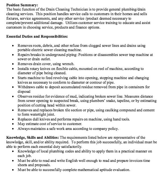 Cleaning Technician Job Description Free Resume Sample Job Description Service Jobs Sample Resume Templates