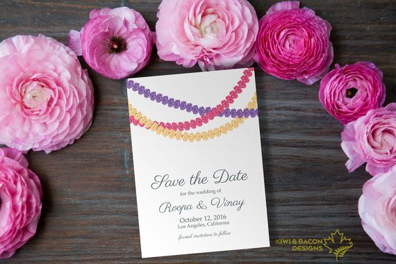 Indian Save the Date - Flower Garlands -- Bridal Shower, Baby Shower, Party  Invitation
