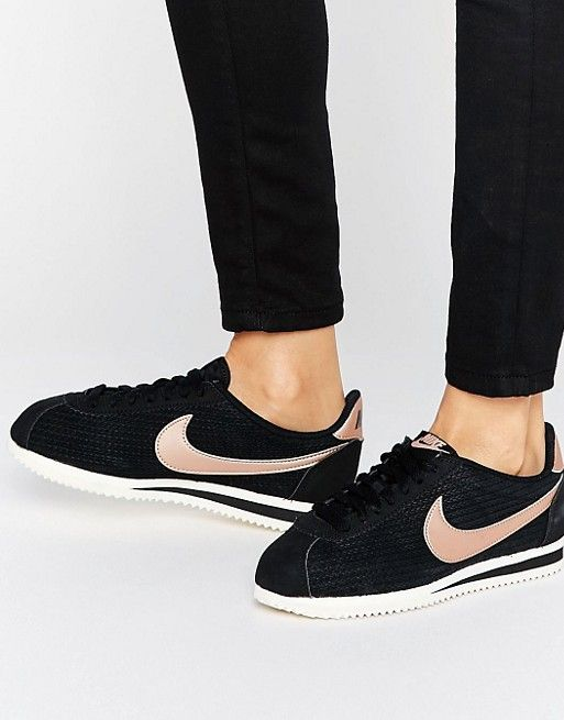 2c765060d0f1 Nike Classic Cortez Leather Luxe Trainers In Black And Metallic Bronze
