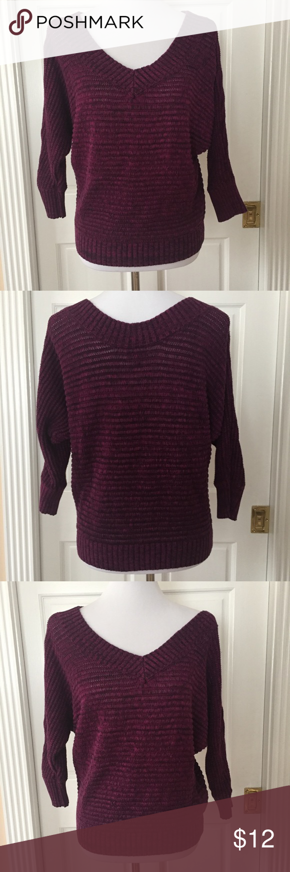 Express Marled 3/4 Sleeve Dolman Sweater | Shoulder, Purple and Cotton