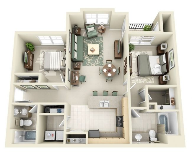 50 plans 3d d 39 appartement avec 2 chambres sims apartments and house - Lay outs idee klein appartement ...