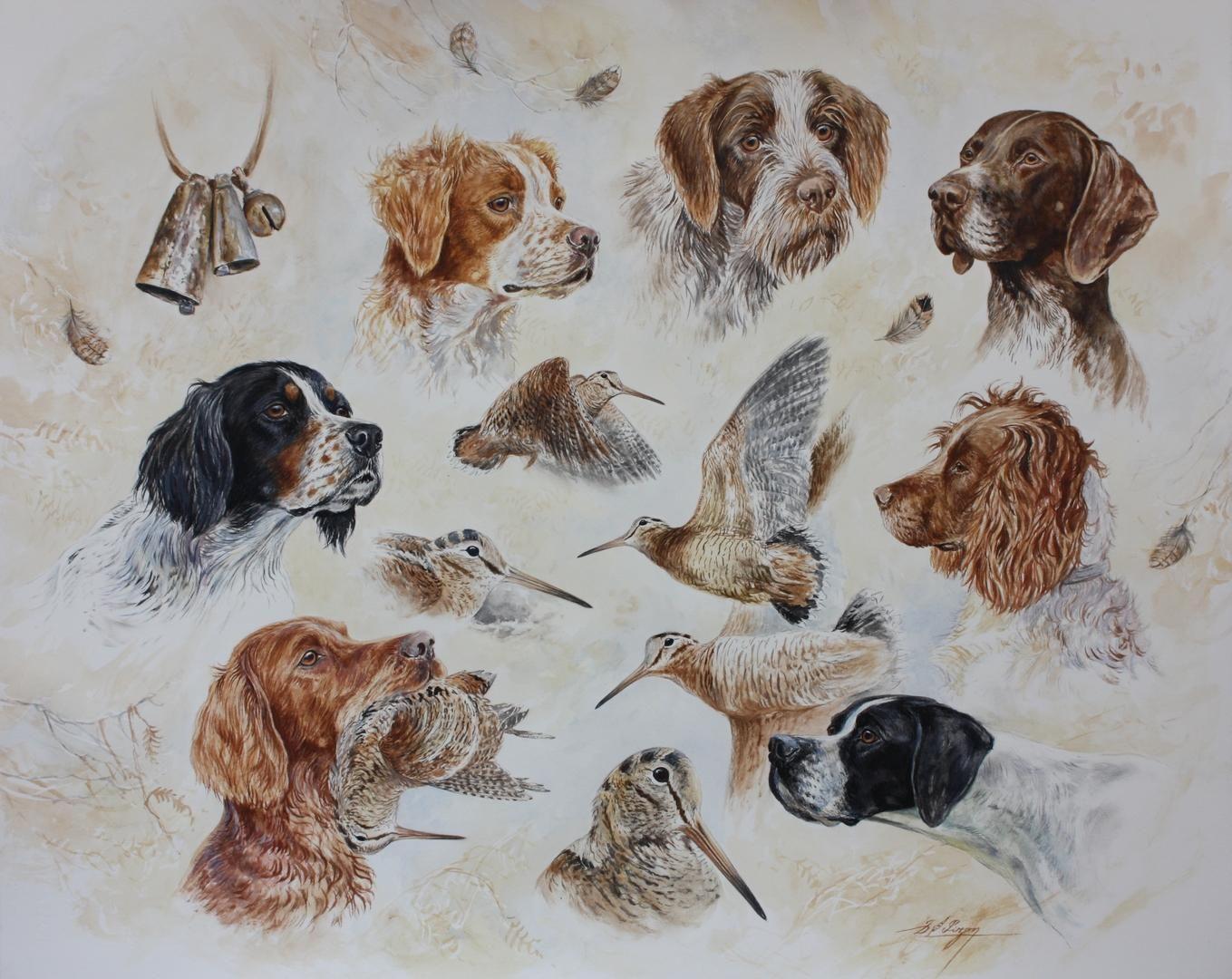 Dominique Pizon | Peintures animalières | Hunting dogs ...