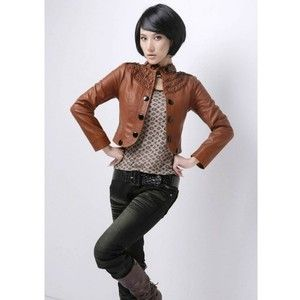 Brown Short Leather Jacket Women Stand-Up Collar Outerwear ...