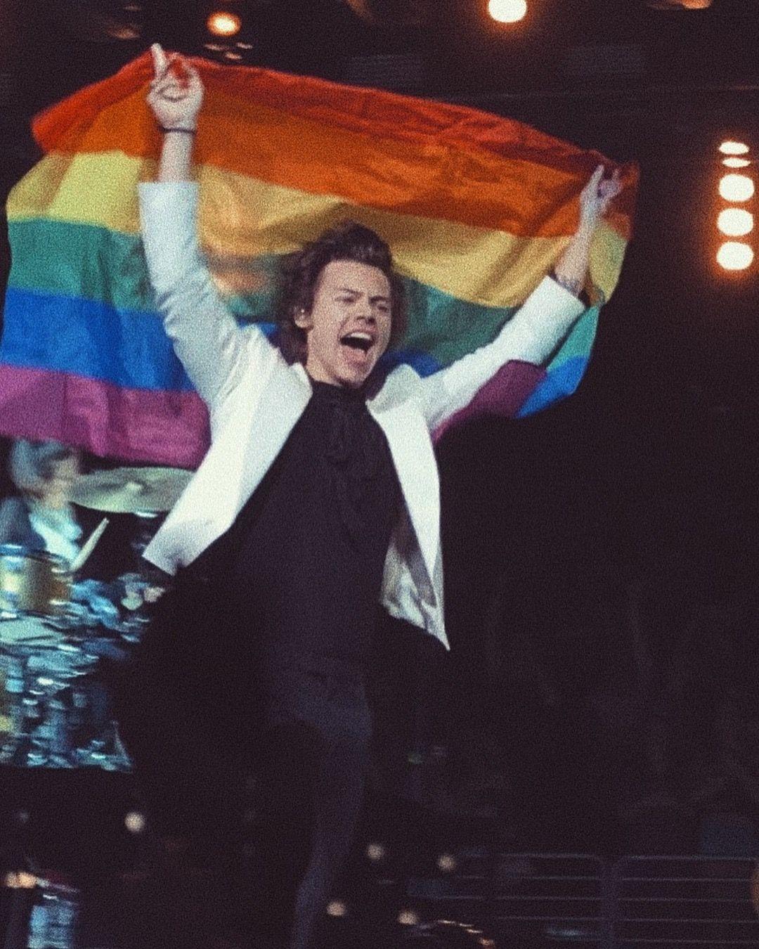 Harry Styles em um dos muitos momentos em que mostrou ser aliado da comunidade LGBT. (Foto: Reprodução / Twitter)