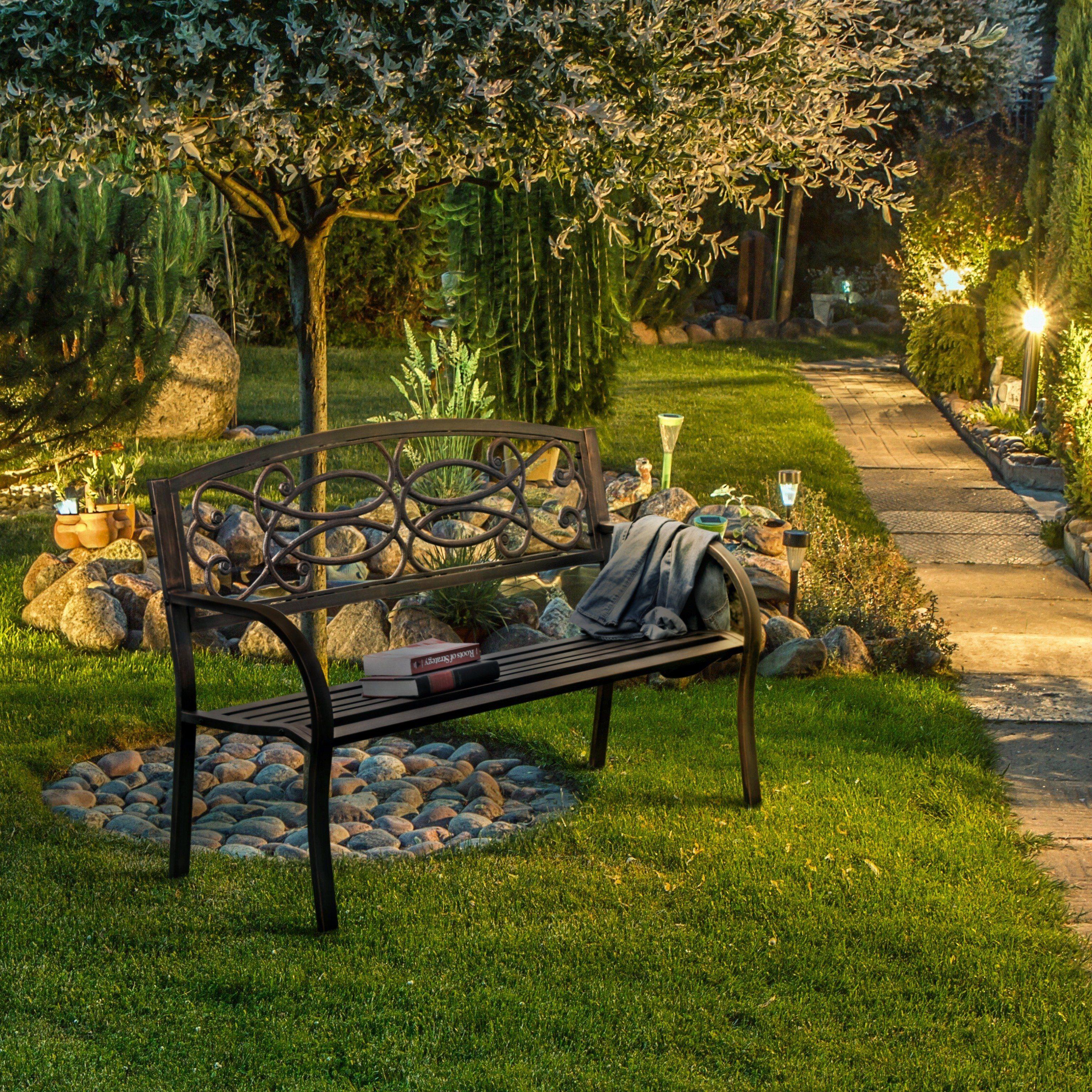 Flints Industrial Powdered Bronze Outdoor Garden Bench By Foa