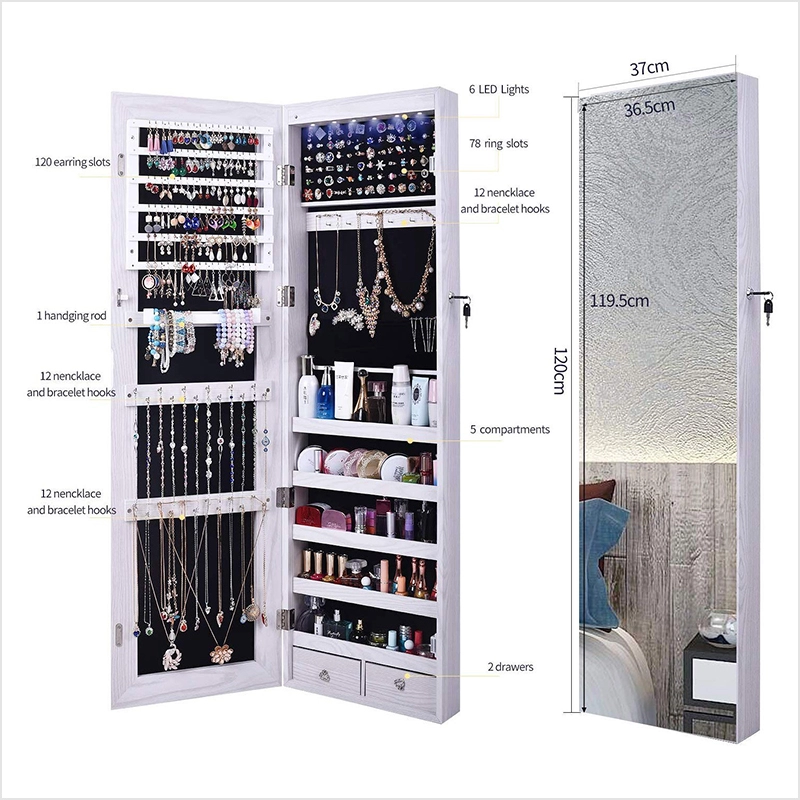 Popular Full Screen Display View Larger Mirror Hanging Wooden Jewelry Organizer Dressing Cabinet Wiht En 2020 Espejo Joyero Espejos Para Habitacion Muebles Con Espejo