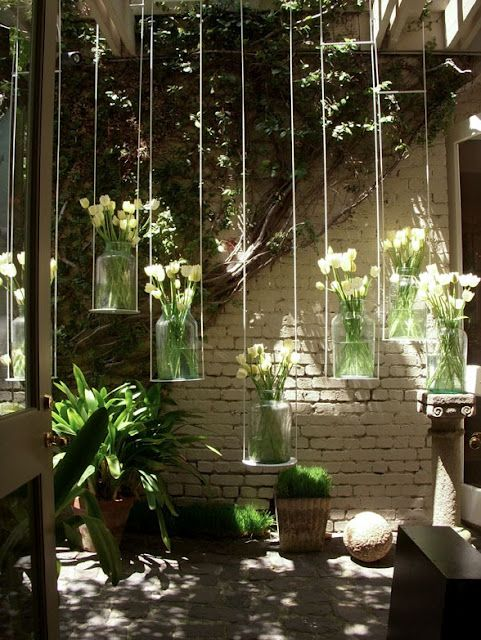 Garden Art, Hanging Flower Vase, DIY Yard Art Innovations...for The  Backyard Overhang!!