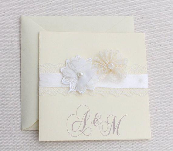 Faire part mariage vintage glamour dentelle fleurs perle