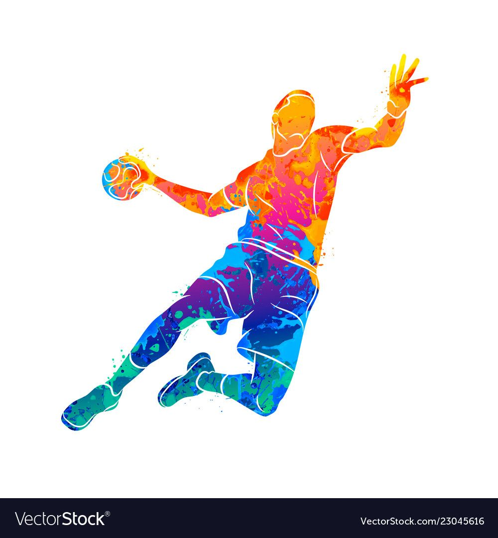 Abstract Handball Player Jumping With The Ball Vector Image On Vectorstock Handball Players Handball Boxing Posters