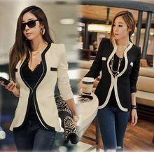 Drop Ship Blaser Feminine Rushed Regular 2014 New Fashion Women Slim Blazer Srsť Casual Jackets One Suit Button OL Oblečenie (Čína (pevninská časť))