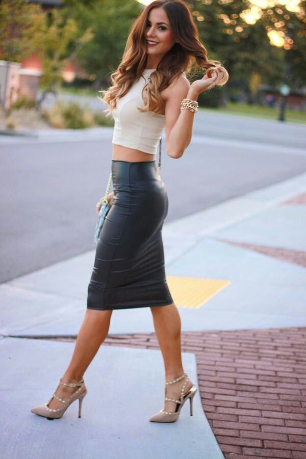 Leather skirt paired with girly pieces to soften/counteract the ...