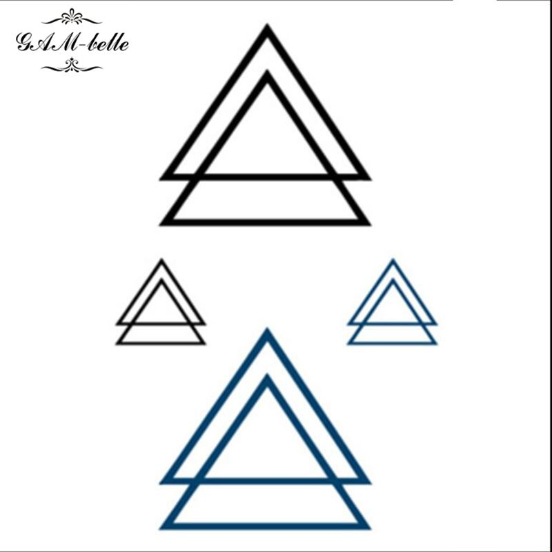 Triangle tattoo stickers waterproof double triangular logo tattoo stickers small fresh tattoos