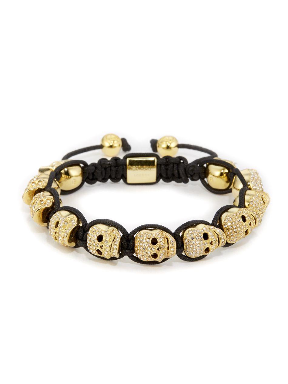 f987d2798763 Gold   Clear Swarovski Crystal Skull Bracelet
