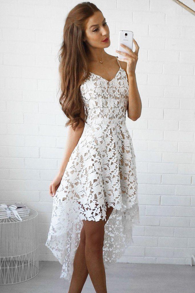 1fa4bf937f White Floral Lace Trim Asymmetric Spaghetti Strap Dress