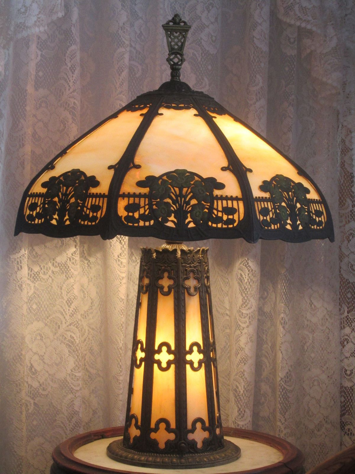 Original Lamps antique slag glass lighted base panel lamp slag glass table lamp