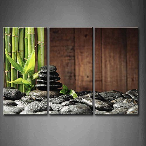 3 Panel Wall Art Green Spa Concept Bamboo Grove And Black Zen Stones