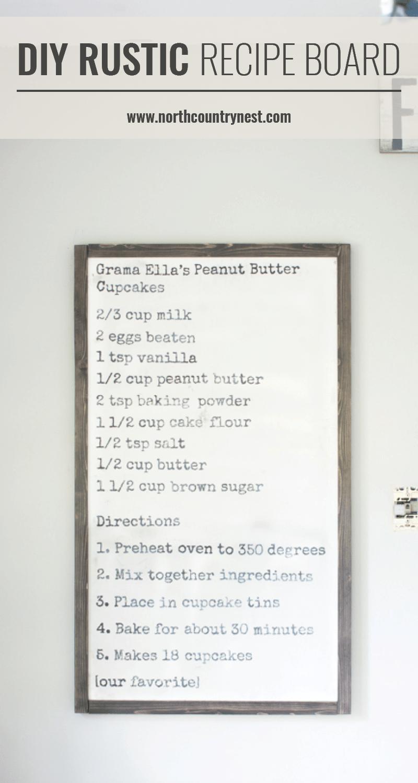 Diy rustic recipe board farmhouse kitchen decor farmhouse
