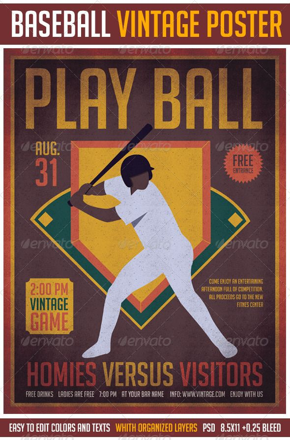 Baseball Vintage Poster Flyer template, Event flyers and Typography - baseball flyer