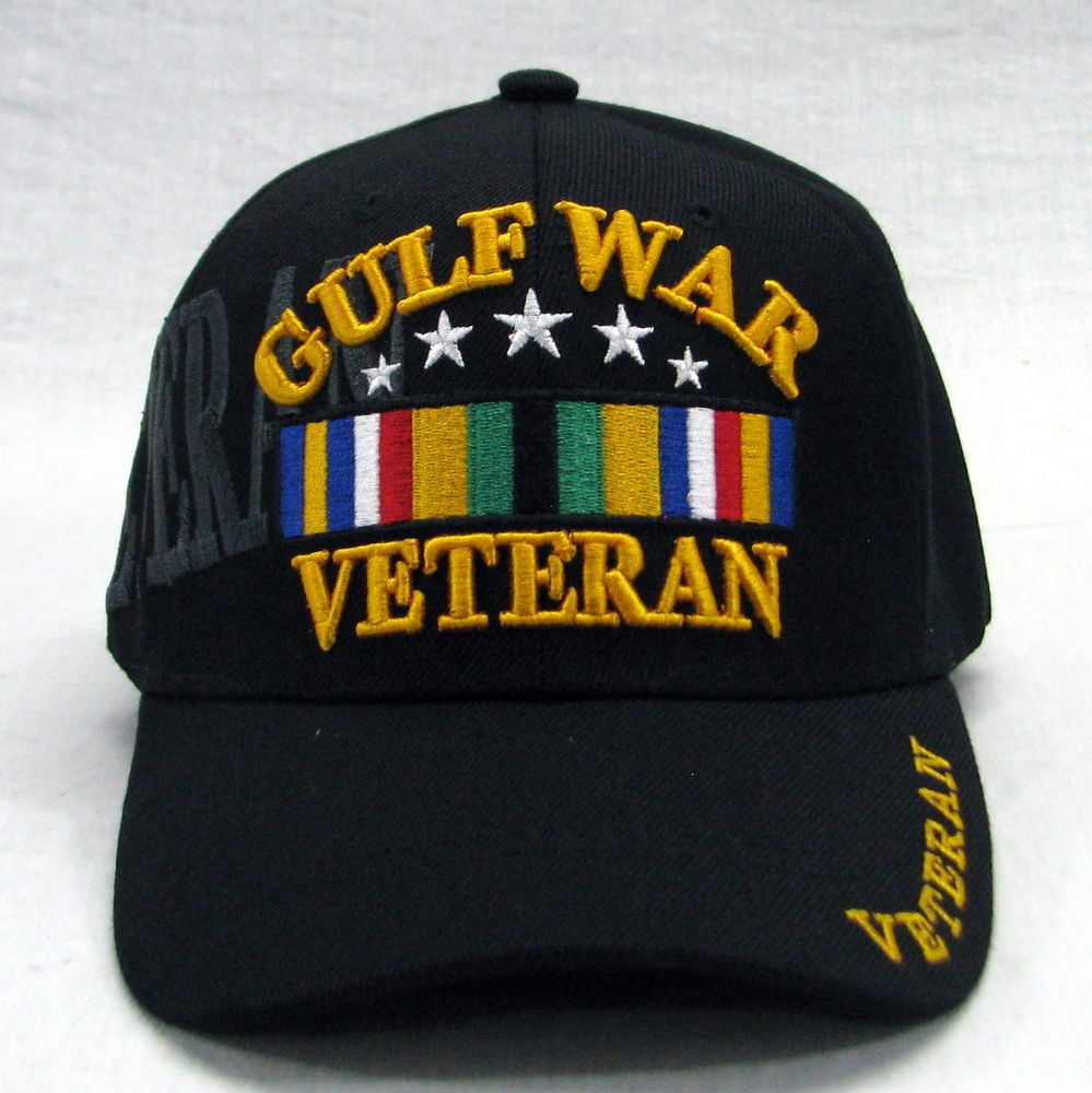 f6e887c1 Details about Gulf War Veteran Black Military Embroidered Shadow 3D ...